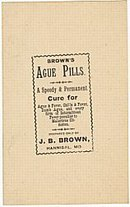 Brown's Ague Medicine Label / Vintage Fever