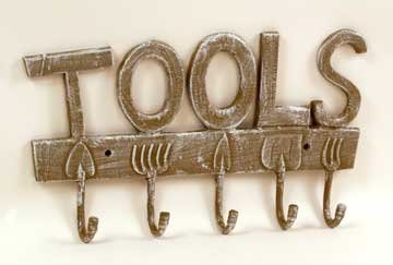 Garden Tools Coat Rack - Cast Iron New