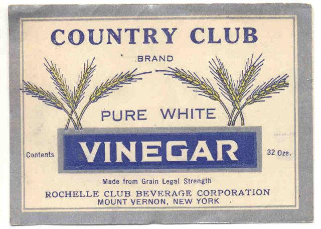 VINTAGE PURE WHITE VINEGAR LABEL