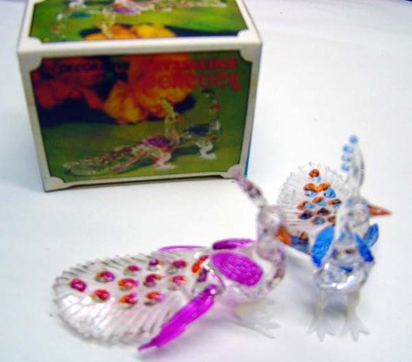 17 boxes CRYSTALLINE TOY PEACOCKS in Original