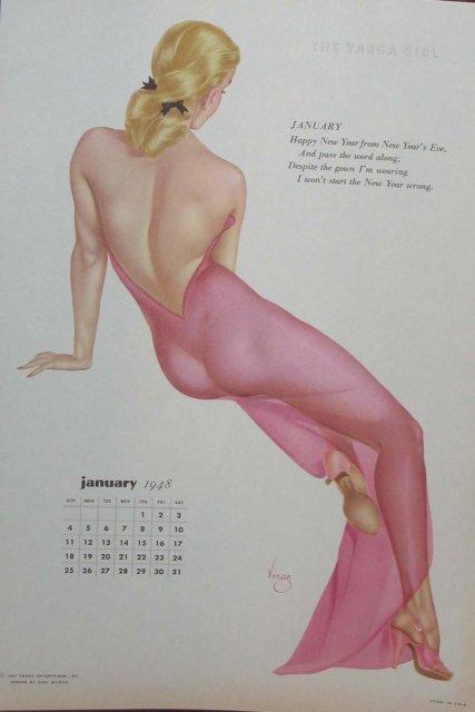 Varga Girl Pinup Calendar Sheet 1948