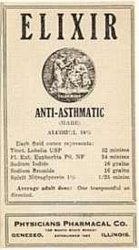 VINTAGE ANTI-ASTHMATIC ELIXIR MEDICINE LABEL