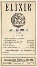 VINTAGE ANTI-ASTHMATIC ELIXIR MEDICINE LABEL
