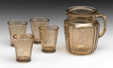 Glass Pitcher Glasses - Amber