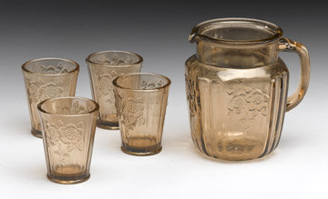 Glass Pitcher Glasses - Amber