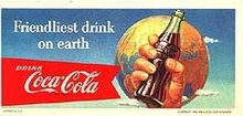 Coca-Cola Soda Blotter sign 1956