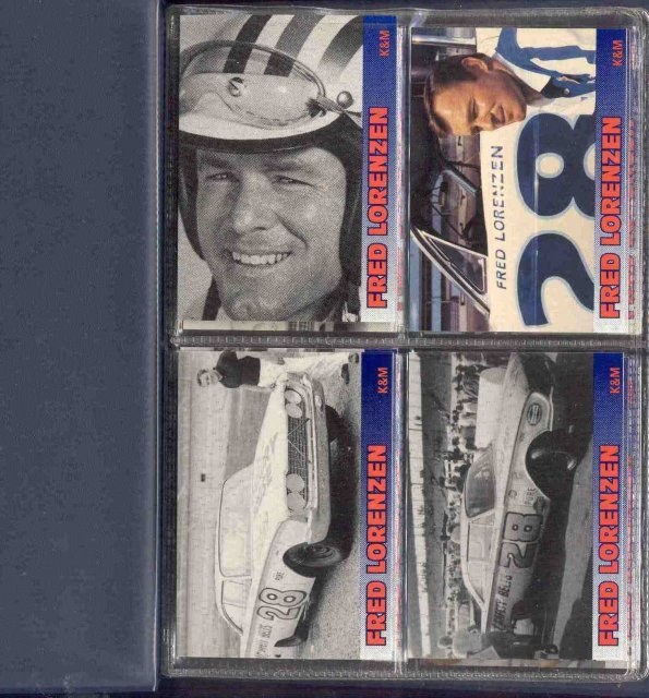 12 VINTAGE FRED LORENZEN RACING CARDS MINT