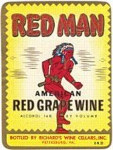 Red Man Grape Wine Label