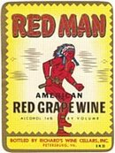 Red Man Grape Wine Label