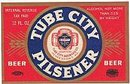 VINTAGE TUBE CITY PILSENER BEER LABEL