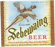 5 VINTAGE SEBEWAING PHEASANT BEER LABELS 1952