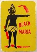 Black Maria Metal Tobacco Tag