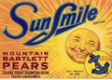 Sun Smile Pear Crate Label