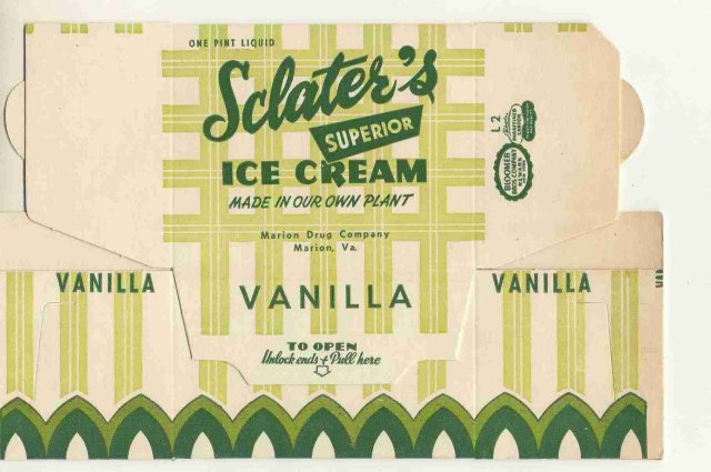 VINTAGE SCLATER ICE CREAM BOX / ART DECO 1940S