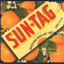 VINTAGE SUN-TAG CITRUS CRATE LABEL 1940S