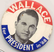 VINTAGE GEORGE WALLACE FOR PRESIDENT POLITICAL PIN 1968