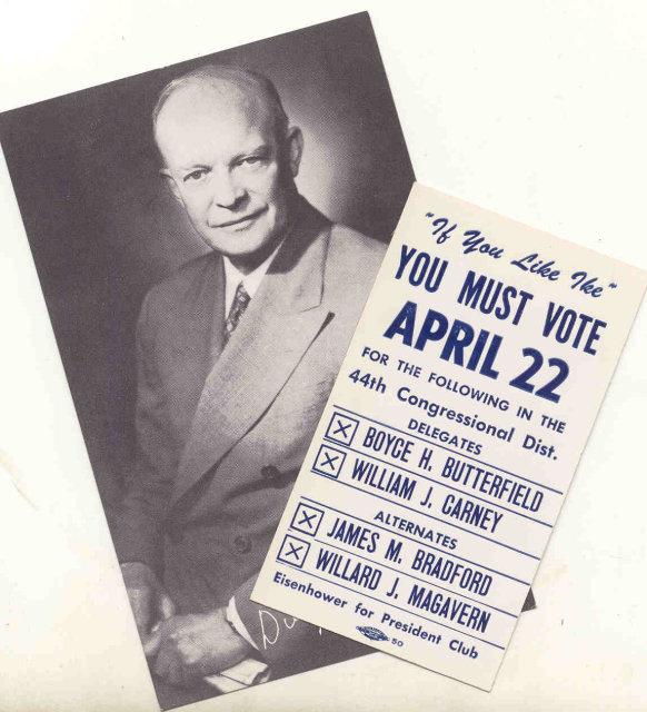 Dwight Eisenhower Vote Card