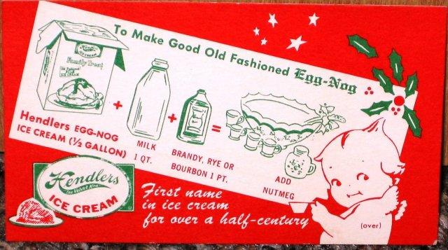 Hendlers Ice Cream Recipe Kewpie Doll Card