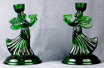 Angel Green Glass Candlestick Holders