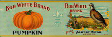 VINTAGE BOB WHITE PUMPKIN BRAND LABEL