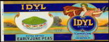 Idyl June Peas Vegetable Can Label