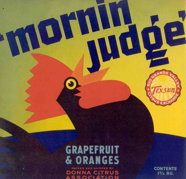 Morning Rooster Citrus Crate Label