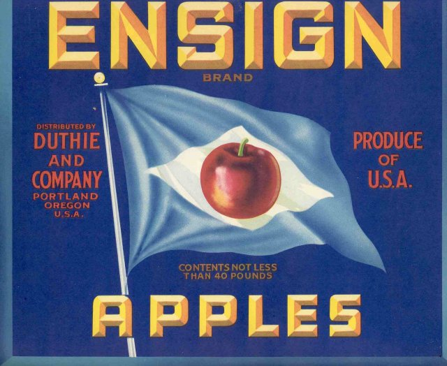 Ensign Apple Crate Label - Blue