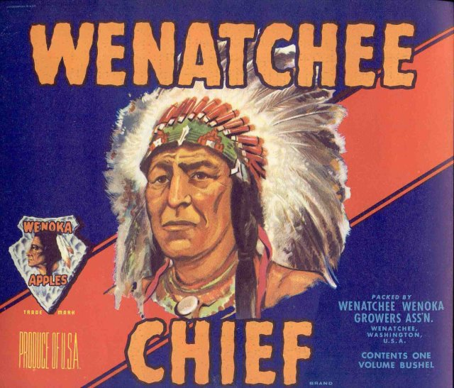 VINTAGE WENATCHEE CHIEF INDIAN CITRUS CRATE