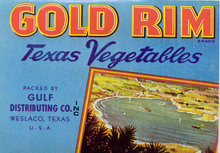 VINTAGE GOLD RIM TEXAS VEGETABLES LABEL