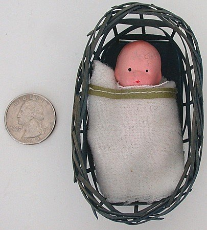 VINTAGE BISQUE BABY DOLL IN BASKET TOY JAPAN