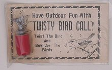 VINTAGE TWISTY BIRD CALL ON ORIGINAL CARD JAPAN