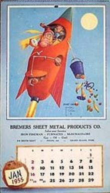 Bremers Sheet Metal Monkeys Calendar 1955