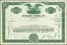 VINTAGE 1971 JEFFERSON STORES STOCK CERTIFICATE