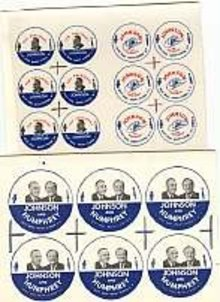 2 VINTAGE LYNDON JOHNSON BUTTON PROOFS MT. VERNON NY