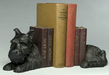 NEW CAST IRON BLACK DOG BOOKENDS