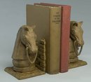 NEW CAST IRON RUST HORSE HEAD BOOKENDS