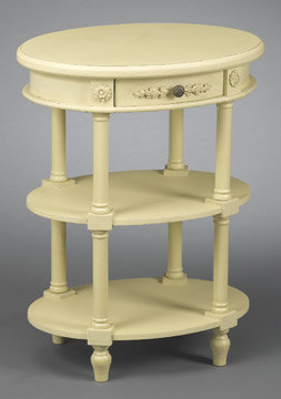 Distressed Cream End Table