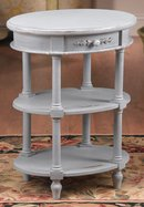 DISTRESSED COUNTRY BLUE PAINTED END TABLE NEW