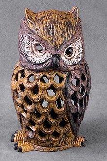 Cast Iron Owl Candleholder