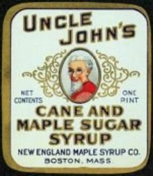 VINTAGE UNCLE JOHN'S MAPLE SYRUP LABEL