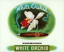 White Orchid Cigar Box Label