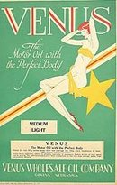Venus Motor Oil Label