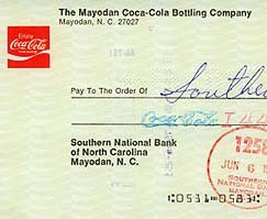 COCA-COLA MAYODAN NORTH CAROLINA CHECK