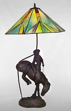 Outlaw Cowboy Lamp - Leaded glass