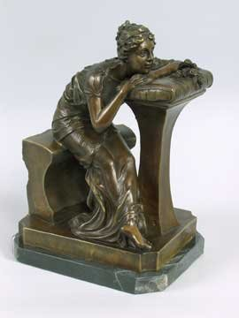 BRONZE STATUE - GIRL AT DESK