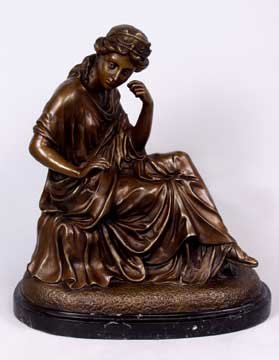 BRONZE STATUE - THINKING WOMAN