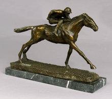 BRONZE STATUE - JOCKEY ON HORSE RACING