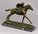 BRONZE STATUE - JOCKEY ON HORSE RACING
