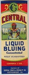 Central Liquid Bluing Mammy Label