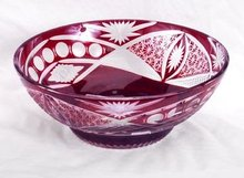 RUBY GLASS CUT OVERLAY BOWL